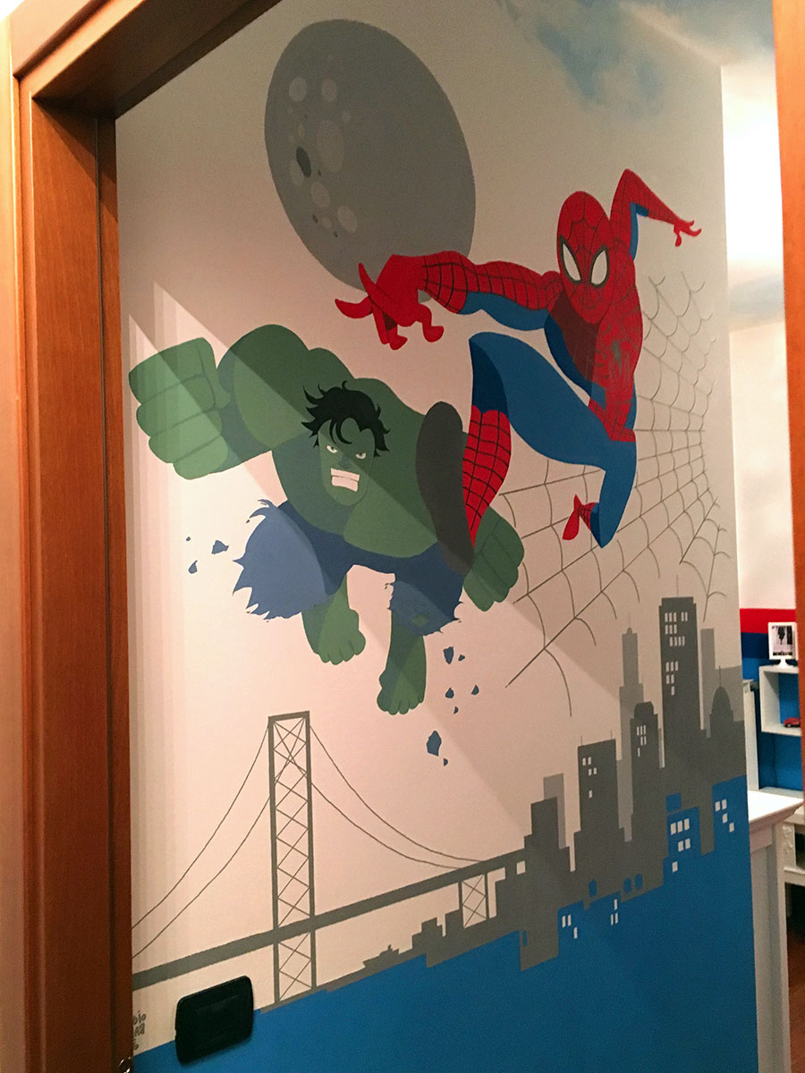 Superheroes bedroom - Wallpainting by Claudio Bandoli